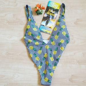 NEW Zaful High Cut Plunge Neck Swimsuit